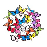 Relaxdays, bunt Gartendeko Schmetterling, 36er Set, Pflanzkasten Dekoration, Topfstecker, Outdoor Deko, Metallstab, PVC, Pack