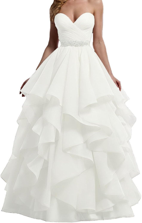 Cdress Organza Cascading Ruffles Wedding Dresses Sweetheart Beads Bridal Gowns