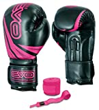 EVO Fitness Ladies Pink GEL Rex Leather Boxing Gloves Punch Bag MMA Muay Thai Martial Arts Kick Boxing (PINK, 12oz)
