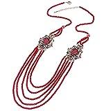 YUANBOO Collar de Piedra Natural de Lujo Antiguo Oro Verde Perlas de Cristal Collar de Borla de Las Mujeres for Las Mujeres Joyería de la Boda del Vintage (Length : 80CM, Metal Color : Red)