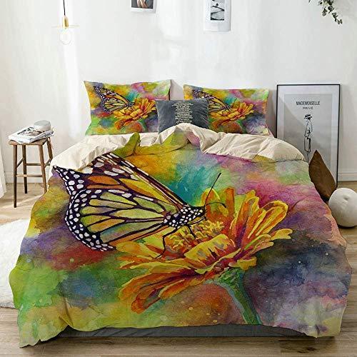 Miwaimao revestimientos de camamariposa monarca Flores pétalo jardín Acuarela Hojas Naturaleza Insecto Pintura Aire Libre Vida silvestreMicrofibra Suave con 2 Fundas de Almohada, 230 * 220cm