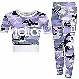 Photo de Guba® New Adios Athletic Ensemble 2 pièces avec leggings et haut court pour fille Motif Camouflage 7-13 ans - - 9 ans