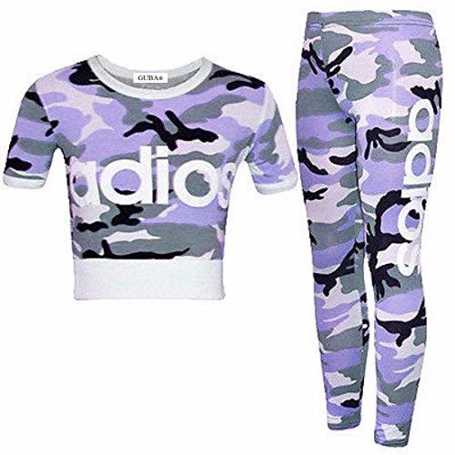 Guba® Mädchen-Top und Leggings, 2-teiliges Set, Camouflage, 7-13 Jahre Gr. 9-10 Jahre, Adios Lilac Camouflage