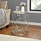 FirsTime & Co. Silver Large Bird and Branches Side Table, American Designed, Silver, 16.5 x 16.5 x 22 inches