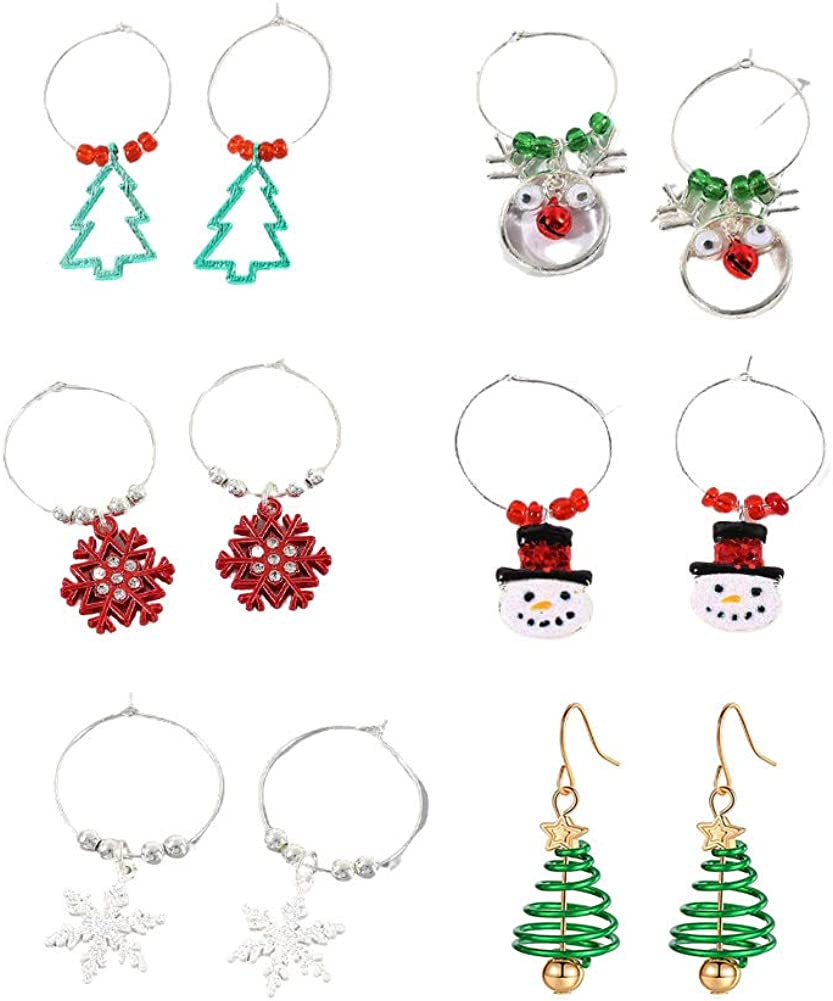 6 Pairs Christmas Bows Earrings Bow Jingle Bell Hoop Red Ball Green Xmas Tree Holiday Jewelry Set Gifts for Women Girls,Thanksgiving Xmas Jewelry Drop Dangle Earrings Gifts Set Multi Clip on Earrings