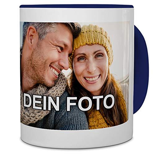 PhotoFancy® - Tasse mit Foto Bedrucken Lassen - Fototasse Personalisieren – Kaffeebecher zum selbst gestalten (Blau)