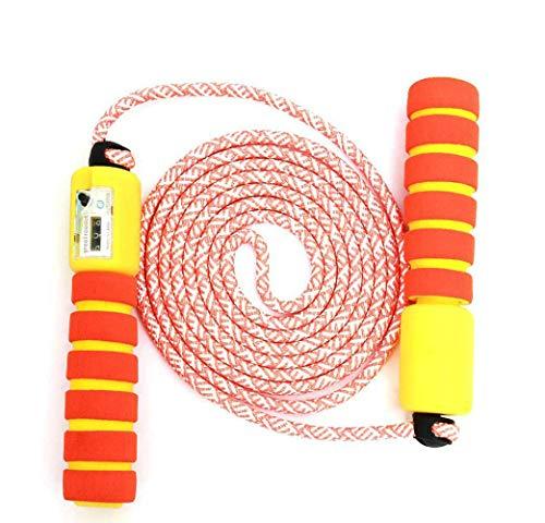 JOJOR Kinder Springseil Baumwolle mit Zähler Und Komfortablen & Anti-Rutsch Griffen, ideal für Fitness Sport Outdoor (Orange)