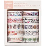 10 rollos de cinta adhesiva decorativa Washi, colección para scrapbooking DIY, artículos de papelería, dulces, bullet journal, accesorios de scrapbook