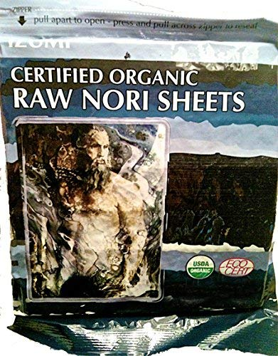Raw Organic Nori Sheets 10 qty Pack - Certified Vegan, Raw, Kosher Sushi Wrap Papers - Premium Unheated, Un Cooked, untoasted, dried - RAWFOOD