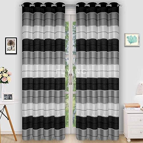 Halbtransparent Ösenvorhang Ösenschal Schal Dekoschal für Fenster Dekorative Gardine Farben Streifen 2er Set Vorhänge mit Ösen 145x245 cm AGV (V8)