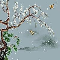 カスタム3D写真壁紙中国風花と鳥の装飾壁画寝室リビングルームソファテレビ背景壁画-400x300cm