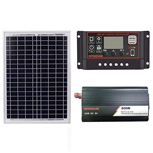 Liseng 18V 20W Solarpanel + 12V 60A Controller + 800W Wechsel Richter Dc12V-Ac230V Solar Power Generation Kit, für Au?en und Haus