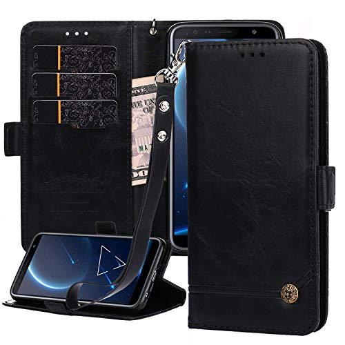 Nokia 6 2018 Lederhülle, Nokia 6.1 Wallet Hülle, Magnetverschluss, Flip Folio Hülle Cover mit Kartenfächern & Ständer für Nokia 6 2018 (schwarz)
