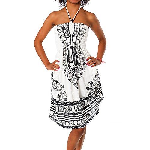 Diva-Jeans Damen Sommer Aztec Bandeau Bunt Tuch Kleid Tuchkleid Strandkleid Neckholder H112, Größen:Einheitsgröße, Farben:F-022 Schwarz