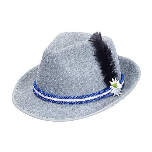 Widmann 03121 Bayerischer Hut mit Edelweiß und Feder, Unisex– Erwachsene, Grau