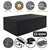 "6. Tvird Patio Furniture Covers,96"" x 64""x 40"" Outdoor Furniture Covers Made of 600D Heavy Duty Oxford Fabric,Windproof Waterproof, Rain Snow Dust Wind-Proof, Anti-UV, Fits for 8 to 10 Seats (Black)"