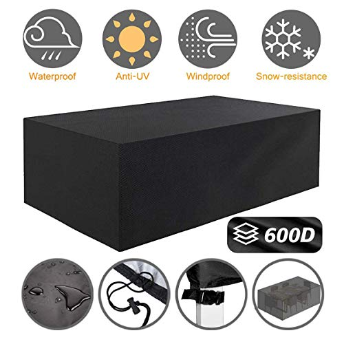 "Tvird Patio Furniture Covers,96"" x 64""x 40"" Outdoor Furniture Covers Made of 600D Heavy Duty Oxford Fabric,Windproof Waterproof, Rain Snow Dust Wind-Proof, Anti-UV, Fits for 8 to 10 Seats (Black)"