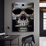 NIMCG Resumen Negro cráneo Bala Mariposa impresión Lienzo Pintura Pared Arte Imagen para Sala Cuadros decoración del hogar 60x90 cm (sin Marco)