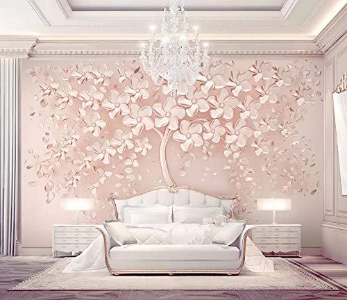 Papel Pintado Pared 3D Árbol De Flor Dorada Rosa En Relieve Fotomurales Decorativos Pared
