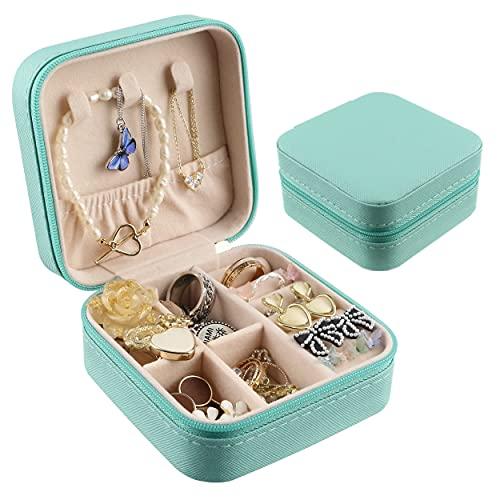 Portagioie Piccolo da Viaggio, 1PCS MOCOBO Donna Scatola di Gioielli Organizzatore di Jewelry Box, Custodia per Gioielli con Specchio Blu Tiffany(Gioielli non inclusi)