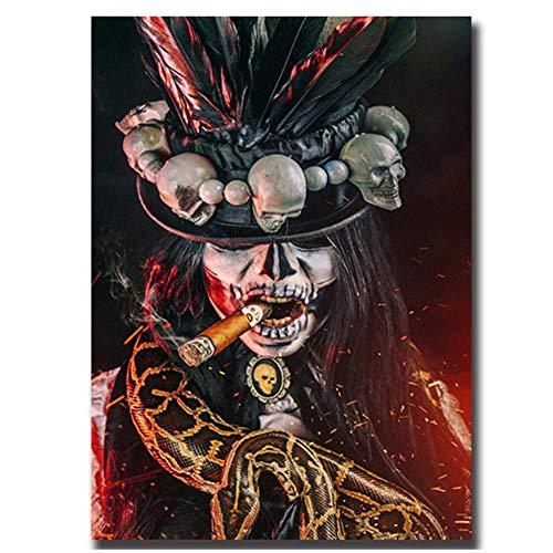 Grafik für zu Hause 40x50cm kein Rahmen Fluch des Skeletts Plakat Malerei Halloween Kultur Malerei Kunstwerk Bild für Zuhause Zimmer