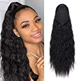 Eerya Curly Wavy Ponytail Hair Extension Water Wave Hair Piece Heat Resisting Fiber Synthetic Drawstring Pony Tail Natural Black Hairpiece for Lady Woman (22 Inch, 1B#)