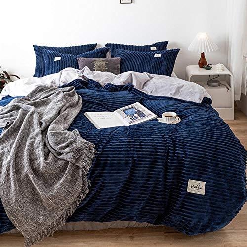 Juego de cama de,Juego de ropa de cama de invierno de lana de coral de doble cara más funda nórdica de lino de lana para una sola funda doble king-deep_blue_Quilt_cover: _150cm * 200cm (3 piezas)