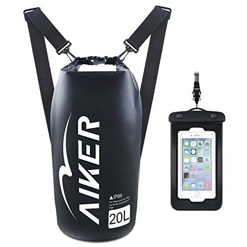 AIKER Dry Bag - Waterproof Backpack 20L with IPX8 Waterproof Case, The Best Dry Bag for Kayaking, Rafting, Beach, Camping, Hiking, Fishing and Boating (Black)