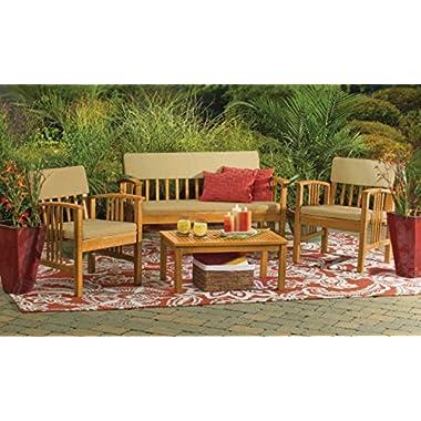 Durable 4-Piece Wood Deep Seating Patio Furniture Set Indoor Outdoor Conversation Chat Set Acacia Wood Tropical Hardwood