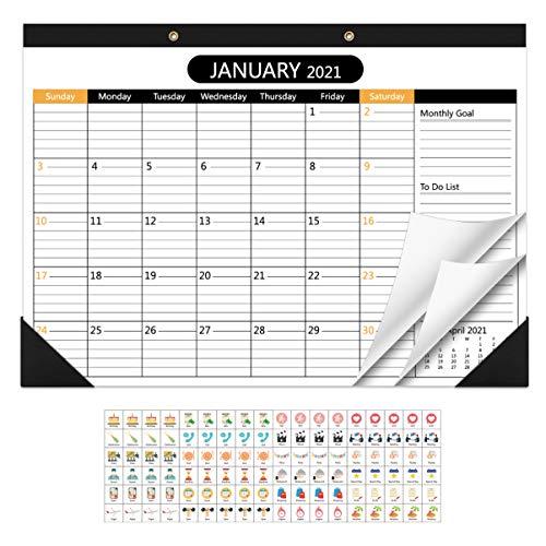 NUOBESTY Pianificazione Calendario da Parete con Adesivi per Eventi 2021-2022 Home Office Mensile da Fare Elenco Planner Appeso a Parete Appunti Calendario Pianificatore Desktop da Gennaio