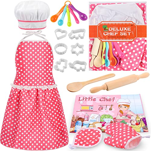 Kids Cooking Baking Set 17Pcs, Kids Chef Role Play Costume Set - Chef Hat and Matching Pink Apron Children Dress up Pretend Gift for 3 4 5 6 7 8 Year Old Girls Toys