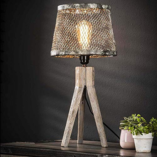 famlights Tischleuchte Xenia aus Holz, Meshnetz aus Metall, Grau, 1x E27, Industrie Design | Dreibein Tischlampe für Wohnzimmer, Schlafzimmer | Designerleuchte Nachttischlampe | Vintage Stehleuchte