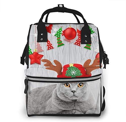 Kerstmuts schattig kat grote capaciteit multifunctionele mama rugzak grote capaciteit landscap licht baby luier zakken