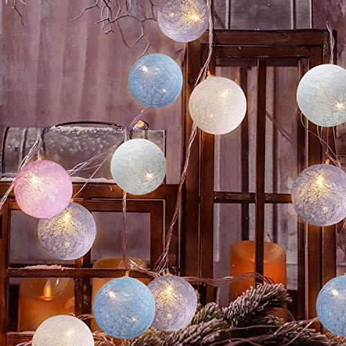 Cotton Ball Lichterkette, TENSUN 3m 20 LED Kugel Lichterketten Batteriebetrieben, Baumwollkugeln Lichterkette für Innen, Weihnachten, Hochzeit, Garten, Party Deko