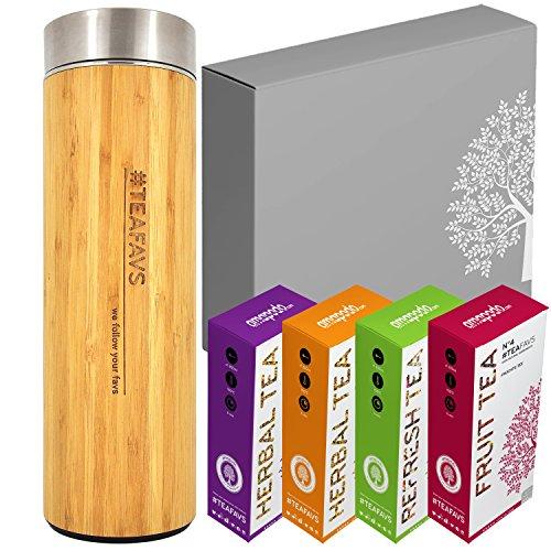 amapodo Tee Geschenke für Frauen Männer Geschenkbox Geschenkset Angebot die nachhaltige Geschenkidee 2x Früchtetee 2x Kräutertee 1x Thermobecher