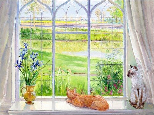 Poster 40 x 30 cm: Katzen am Fenster von Timothy Easton/Bridgeman Images - hochwertiger Kunstdruck, neues Kunstposter