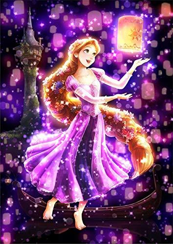 n a 5D Rapunzel Laterne Laterne Volldiamant Zeichnung Kreuzstich Kit Kunst Hochwertige Cartoon 3D Diamantzeichnung Diamantzeichnung Runde Diamant Diamantzeichnung 30 * 40Cm Huzi