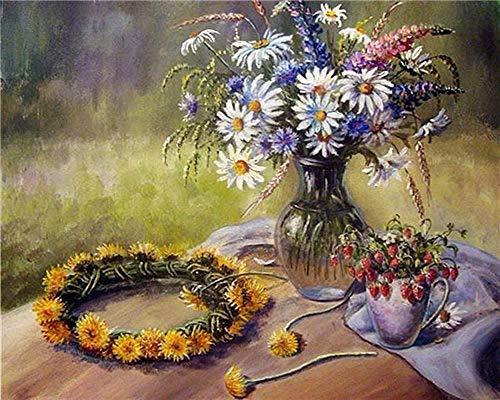 DIY Paint by Numbers,Pintar por Numeros Adultos Niñost Botella de cristal de flores de colores Pintura por Numeros Pintura al óleo para Decoración de Paredes del Hogar Regalo(40x50cm sin marco