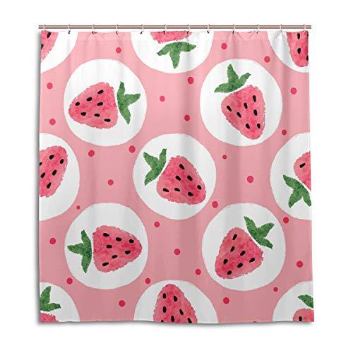 BKEOY Duschvorhang Erdbeer-Aquarell-Druck, wasserdicht, schimmelresistent, waschbar, Polyester, 167 x 182 cm, mit 12 Vorhanghaken