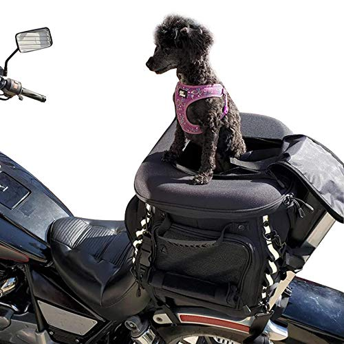 Dog Cat Carrier Motorcycle Back seat Pet Luggage Bag Weather Resistant Motorcycle Dog/Cat Carrier Crate for Luggage Rack or Passenger Seat with Sissy Bar Straps