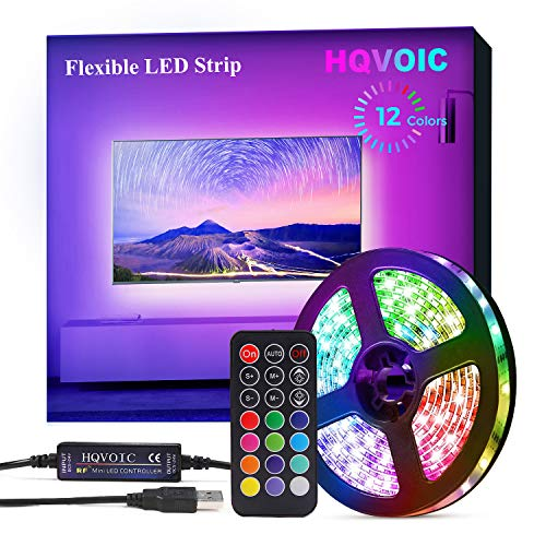 HQVOIC LED Strip Lights, 8.2ft USB TV LED Backlights with RF Remote for 32-60inch HDTV, Color Changing 5050 Dimmable LED Light Bias Lighting Kit with 3M Tape for Room Bedroom TV PC Decoration