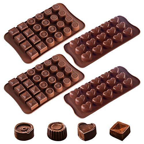 Silikon schokolade formen set, 4 Stück Antihaft-Pralinenform Fondant Kuchenform Eiswürfel Tablett Süßigkeitenform, Küchen-Backform Gelee Keks Backform für Küchenbedarf