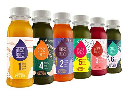 5 Tage Saftkur von Pressbar | 30 Flaschen | 6 verschiedene kaltgepresste Säfte pro Tag | hochwertige Obst & Gemüse Säfte | ideal für Deine Kur | Achtung: Kühlware, nach Erhalt sofort kühlen