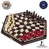 Amazinggirl Ajedrez de Madera Damas - Conjunto Tablero ajedrez para niños Adultos Chess Juego Plegable portátil (40X35 cm, Ajedrez para 3 Personas)