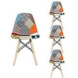 GrandCA HOME Set di 4 Sedie,sedie Patchwork di Lino Sedie da...