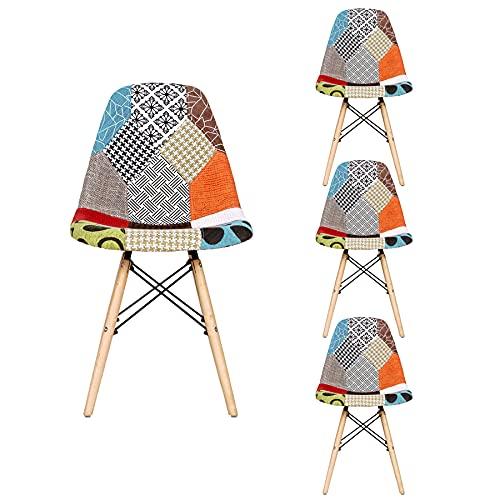 GrandCA HOME Set di 4 Sedie,sedie Patchwork di Lino Sedie da Soggiorno Sedie da Pranzo con Schienale con Cuscino Morbido (Rosso 01)