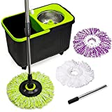 Simpli-Magic 79117 Spin Mop Cleaning Kit with Refills, Mop & Refills, Black/Green