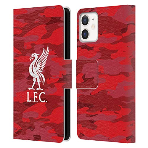 Official Liverpool Football Club Third Colourways Crest Camou PU Leather Book Wallet Case Cover Compatible For Apple iPhone 12 Mini