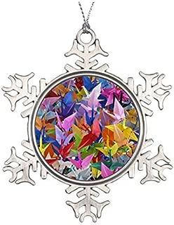 Delia32Agnes 1,000 Origami Paper Cranes Ornament Pewter Snowflake Ornaments for Christmas Decoration