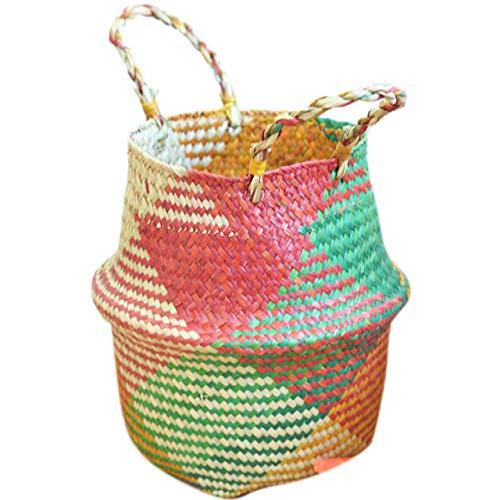 ZYLDM Wasmand Opvouwbare Tuinpotten Planter Handgemaakte Zeegras Kwekerij Pot Rotan Bloemmanden Rieten Opknoping Manden Geweven Bloempotten Multi kleuren
